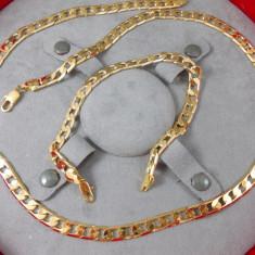 Set Lant Barbati+Bratara dublu placat aur 18k Cod produs: STB 6 - Set bijuterii placate cu aur