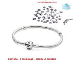 Bratara Pandora + 5 talismane cadou, placata cu argint 925 - Bratara argint pandora, Femei