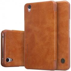 HUSA NILLKIN QIN OnePlus X - BONUS FOLIE ECRAN - Husa Telefon OnePlus, Universala, Maro, Piele Ecologica