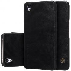 HUSA NILLKIN QIN OnePlus X - BONUS FOLIE ECRAN - Husa Telefon OnePlus, Universala, Negru, Piele Ecologica
