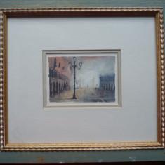 2 acuarele inramate de pictorul austriac Bernhard Vogel, Venetia, semnate - Pictor strain, Marine, Acuarela, Impresionism