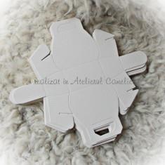 Cutii poseta - marturii botez/ nunta - carton ALB