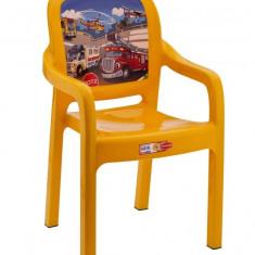 Scaun cu brate pentru copii din masa plastica culoare galbena Raki