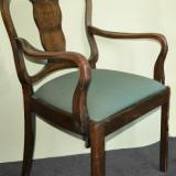 Fotoliu si Scaun pentru birou, realizate din lemn de nuc, Jugendstil -Artnouveau