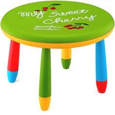 Masa rotunda 70cm pentru copii din masa plastica culoare verde Raki