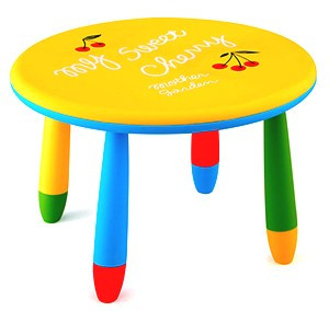 Masa rotunda 70cm pentru copii din masa plastica culoare galbena Raki foto