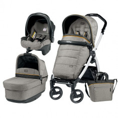 Carucior 3 in 1 Book Plus S Black White POP-UP Elite Luxe Grey - Carucior copii 3 in 1 Peg Perego