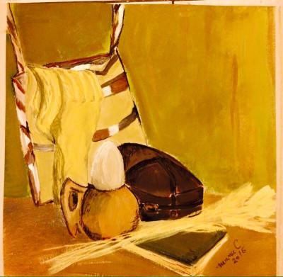 """Pastel """"Natura statica cu sosete de lana""""- tablou inramat foto"""