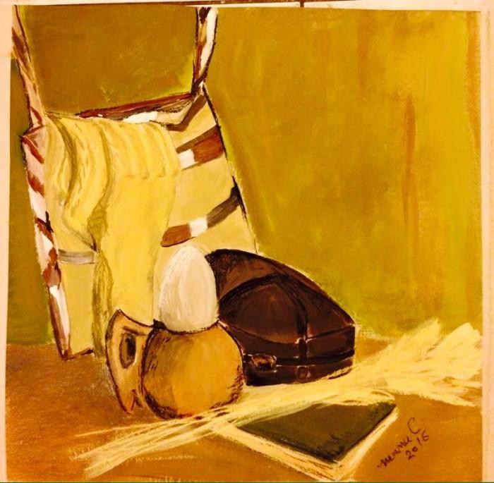 "Pastel ""Natura statica cu sosete de lana""- tablou inramat foto mare"