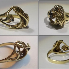 Inel vechi din aur, unicat (marcaj comunist) - Inel aur, Carataj aur: 14k, Culoare: Galben