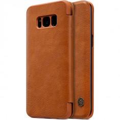 Flip Cover, Nillkin, Qin Series pentru Samsung Galaxy S8, Maro