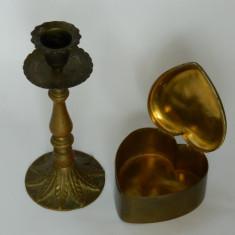 Sfesnic de bronz si cutie inimioara alama - Metal/Fonta