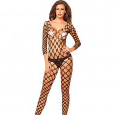 Lenjerie Lady Lust Sexy Bodystocking Fishnet Bourlesque Crotch Plasa Stocking - Dres, Marime: Masura unica, Culoare: Negru
