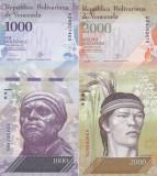 Bancnota Venezuela 1.000 si 2.000 Bolivares 2016 (2017) - PNew UNC ( set x2 )