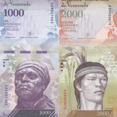 Bancnota Venezuela 1.000 si 2.000 Bolivares 2016 (2017) - PNew UNC ( set x2 ) - bancnota america