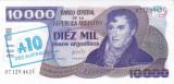 Bancnota Argentina 10 Australes (1985) - P322c UNC (supratipar pe P319)