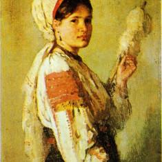 Nicolae Grigorescu - Ţărancă torcând (1874)