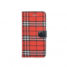 Husa Flip Cover Tellur Folio Textil pentru Samsung Galaxy S7 Edge Rosu/Negru, Piele Ecologica