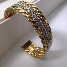 Bratara bijuterii reglabila asg3 -INOX  placata cu AUR alb si aur galben 14K