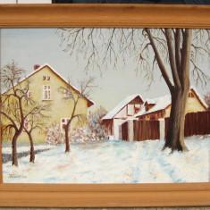 Tablou Peisaj cu case iarna pictura in ulei pe panza 45x58 cm - Pictor strain, Peisaje, Realism