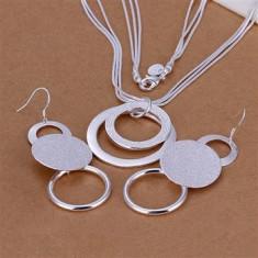 Set bijuterii placat argint 925 cercei dama +lant+pandantiv poze reale - Set bijuterii argint