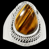 Inel Tiger Eye(mas.7, 5)-Ag 925 - Inel argint