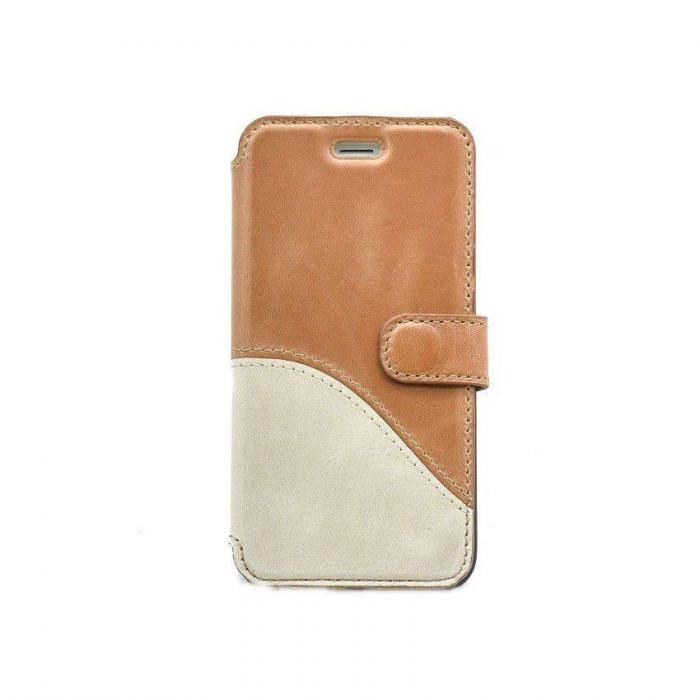 Husa Flip Cover Tellur Book Wave piele pentru iPhone 7 Maro/Alb foto mare