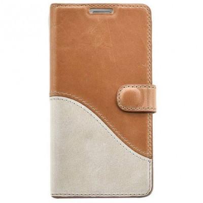 Husa Flip Cover Tellur Book Wave piele pentru Samsung S7 Maro/Alb foto