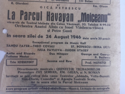 "PLIANT RECLAMA  ""O SEARA"", 1946 /MARLENE DEITRICH, IOANA RADU,GICA PETRESCU... foto"