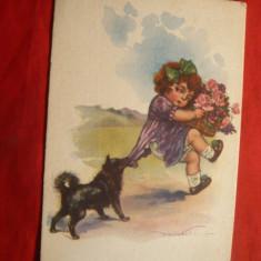 """Ilustrata comica - Fetita cu flori si un """"caine rau"""" -semnata , inc.sec.XX"""