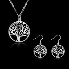 Set bijuteriplacat argint 925 cercei dama +lant+pandantiv poze reale