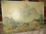 Pictura semnata in ulei pe panza de sac o lucrare foarte veche