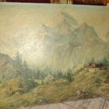 Pictura semnata in ulei pe panza de sac o lucrare foarte veche - Pictor strain, Natura, Realism