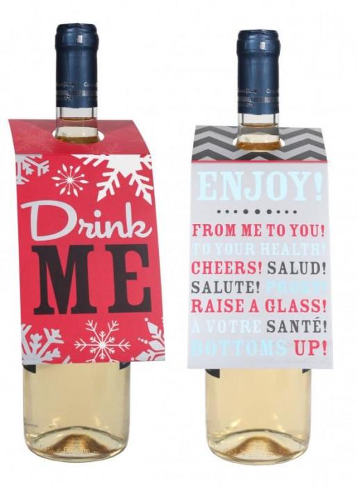 Etichete Craciun sticle vin foto mare