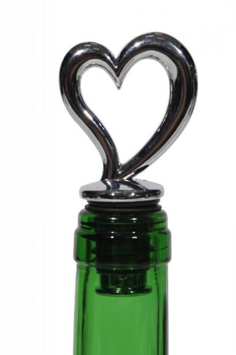 Dop decorativ inima sticla vin foto mare