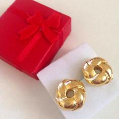 Cercei simpli si eleganti tip Pandora charm placati cu aur 18k gg- Stoc limitat