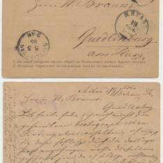 Rusia tarista intreg postal 3K 1885 trimis de la Mitava din Lituania in Germania, An: 1895