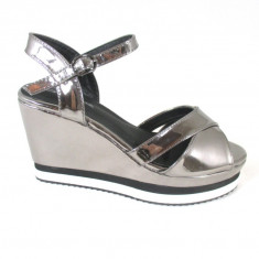 Sandale dama maro metalizat cu platforma marime 40+CADOU, Culoare: Din imagine