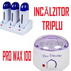 Decantor incalzitor ceara pro wax + incalzitor triplu - Kit epilare ceara
