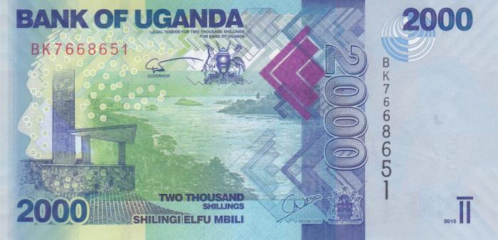 Bancnota Uganda 2.000 Shilingi 2015 - P50 UNC foto mare