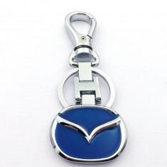 Breloc auto pentru Mazda metalic argintiu albastru + cutie simpla cadou