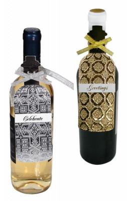Etichete sarbatori sticla vin foto