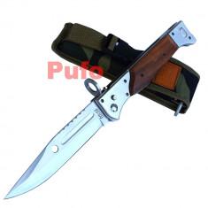 Cutit briceag inscriptionat AK-47 CCCP 34 cm, husa camuflaj - Cutit vanatoare