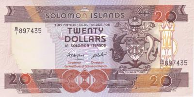 Bancnota Insulele Solomon 20 Dolari (1986) - P16 UNC ( serie B/1 ) foto
