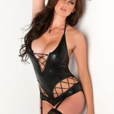 Body Sexy din Latex Tabitha - Body dama, Marime: Marime universala, Culoare: Negru