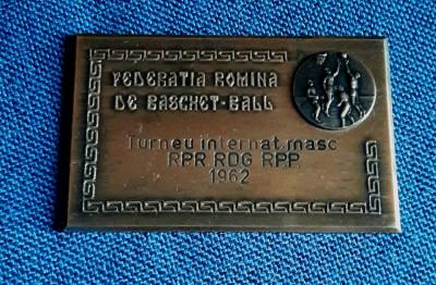 Placheta Baschet - Turneul international - 1962 foto
