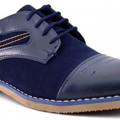 Pantofi Casual Barbatesti Bleumarin cu insertii - Pantofi barbat, Marime: 40