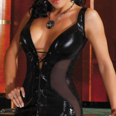 Rochie Sexy din Latex Talia, Marime: S/M, Culoare: Negru