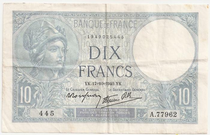 FRANTA 10 FRANCI 1940 XF foto mare