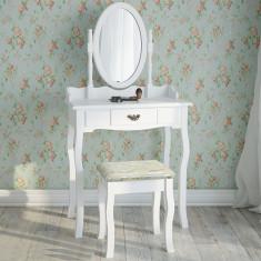 SEA21 - Set Masa alba toaleta cosmetica machiaj oglinda masuta vanity - Oglinda dormitor